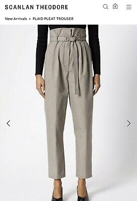AU120 • Buy Scanlan Theodore Check Plaid Pleat Tapered Leg Pants Trousers SIZE 6 / 8 / 10