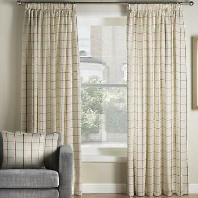 Red Tape Top Curtains Burchill Check Ready Made Lined Pencil Pleat Curtain Pairs • 53.99£