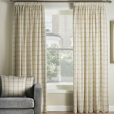 Red Tape Top Curtains Burchill Check Ready Made Lined Pencil Pleat Curtain Pairs • 42.99£