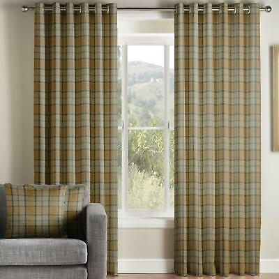 Mustard Eyelet Curtains Brae Tartan Check Faux Wool Lined Ring Top Curtain Pairs • 97.99£