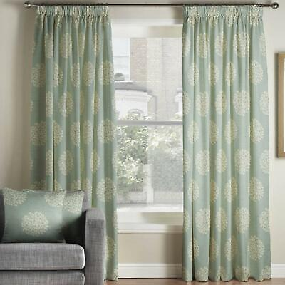 £77.99 • Buy Duck Egg Tape Top Curtains Pom Pom Floral Ready Made Pencil Pleat Curtain Pairs