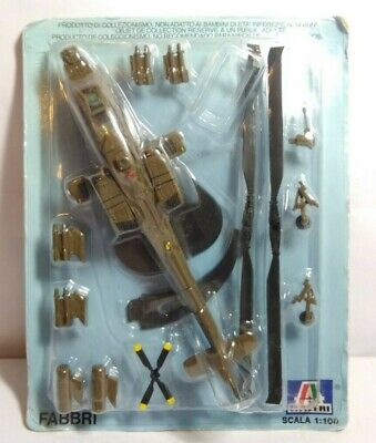 Ge Fabbri Diecast 1:100 Scale Us Army Apache Helicopter - Sealed Blister Pack • 7.50£