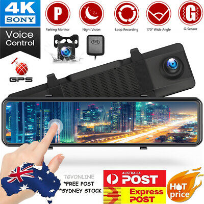 AU142.99 • Buy TOGUARD 4K 12  Mirror Dash Cam GPS Front And Rearview Car Camera Voice Control