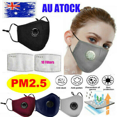 AU15.89 • Buy Washable Reusable PM2.5 Anti Air Pollution Face Mask Respirator 2Mask+ 10 Filter
