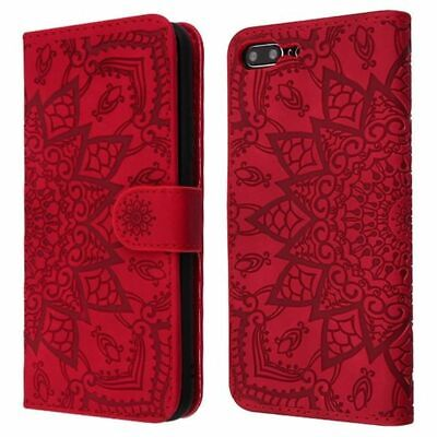 For Apple IPhone 7 Plus/8 Plus Red 3D Mandala Faux Leather Case W/stand • 7.52£