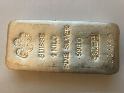 AU1300 • Buy 1 Kg Silver Bullion Bar. Suisse Fine Silver 999.0