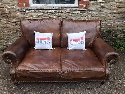 Timothy Oulton Brown Leather Halo Balmoral Sofa FREE DELIVERY 🚚 • 720£