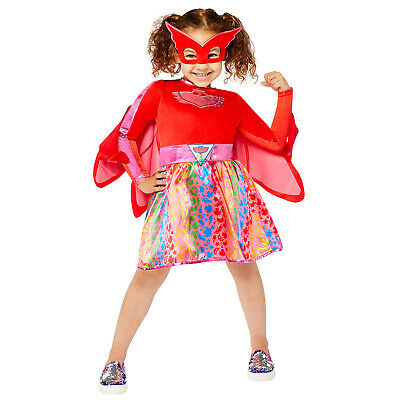 Girls PJ Masks Rainbow Owlette Fancy Costume Dress + Lenticular Badge Superhero • 14.99£