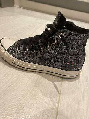 Ladies Converse Trainers Skulls Hearts Rock N Roll Black Grey Size 6 • 25£