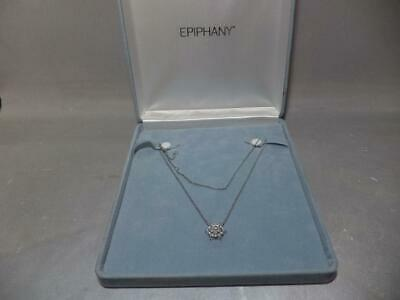 $ CDN60.78 • Buy NEW NIB QVC Epiphany Necklace Flower Pendant Platinum Clad Diamonique 1.70 Ct Tw