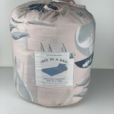 Pottery Barn Kids Nautical Sail Boat Bed In A Bag Queen Size • 122.29£
