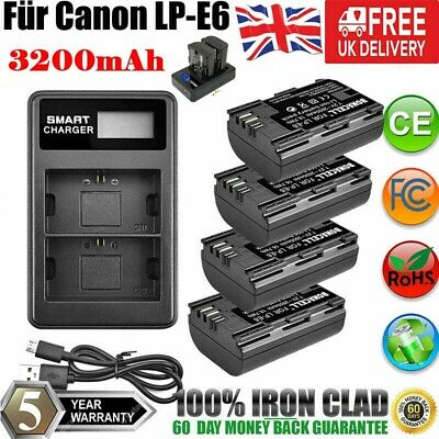 4X LP-E6 Battery + 2X LCD Dual Charger For Canon EOS 70D 60D 6D 5D Mark II III • 31.99£