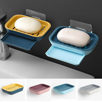 2 Layers Suction Soap Dish Strong Stick Easy Clean Tray Holder Shower Accessory • 4.39£