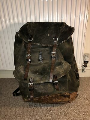 Vintage Swiss Army Salt & Peper Canvas Leather Mountain Backpack Rucksack  • 158£