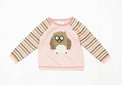 Primark Girls Graphic Pink Owl Jumper Age 3-4 Years • 4£