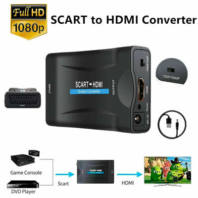 SCART To HDMI Converter 1080P HD Video Scaler Audio Adapter USB Cable For DVD TV • 7.99£