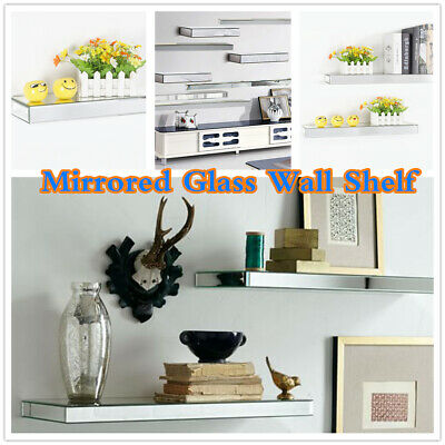 £25 • Buy Mirrored Glass Floating Shelf Shelves Storage Display Unit Wall Mounted Bookcase