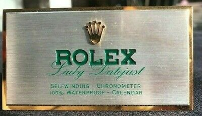 Vintage Rolex Dealer Lady Datejust Sign Brass Crown Display Plaque • 245£