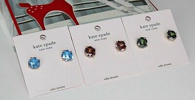 $ CDN54.23 • Buy 3 New KATE SPADE Gold Round BRIGHT IDEAS Stud Earrings LOT Green & Blue & Purple