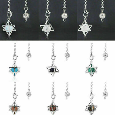 Merkaba Natural Crystal Pendulum Pendant Chakra Healing Gemstone Necklace Charms • 2.70£