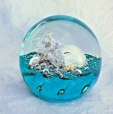 Heron Glass Lovely Green Bubble Paperweight - Hand Crafted In Cumbria -Gift Box • 22£