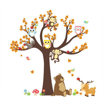 Cartoon Wall Stickers Forest Tree Animal Owl Monkey Bear Baby Kids Room Decor LI • 7.97£
