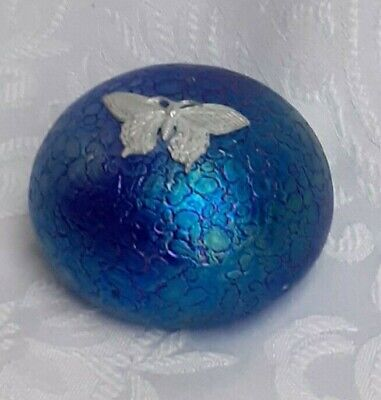 Heron Glass Blue Paperweight With Pewter Butterfly - Hand Crafted In UK • 19£