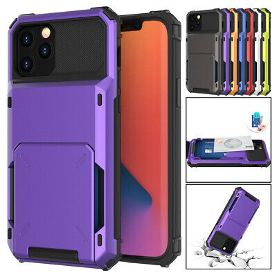 AU13.08 • Buy For IPhone 12 11 Pro Max XS XR X 8 7 6 Plus Wallet Card Holder Armor Case Cover