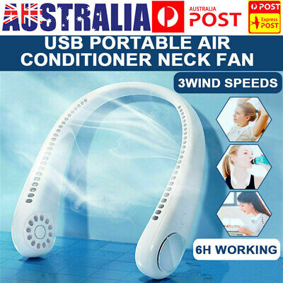 AU26.99 • Buy Portable USB Leafless Neck Fan Cooler Rechargeable Dual Effect Cooling Neckband