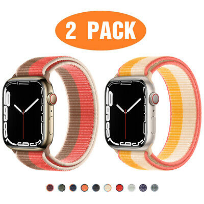 $ CDN8.88 • Buy 2 PACK Nylon Sport Loop Band For Apple Watch Series 6 5 4 3 2 1 SE 38/42/40/44mm