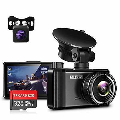 AU137.36 • Buy JOMISE Dash Cam For Cars Front And Rear 1296P & 1080P FHD Dual Dash Camera With