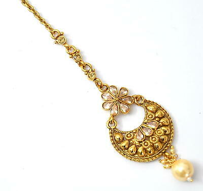 $13 • Buy Indian Ethnic Traditional Bollywood Gold Plated Pearl Mang Tikka Jewelry C9