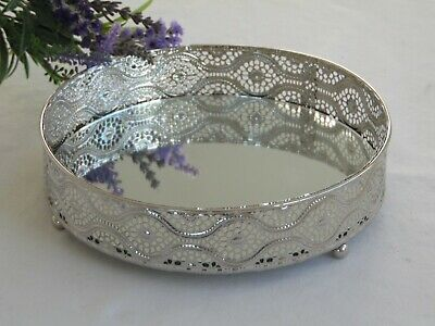 Silver Mirror Glass Vintage Decorative Metal Plate Drink Candle Display Tray 20c • 9.95£