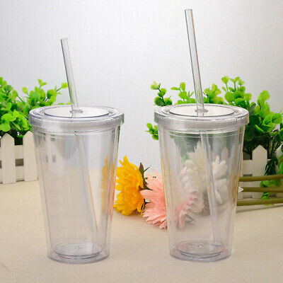 16OZ Double Walled Cup Plastic Clear With Lid And Straw 500ml Drinks Insulated • 8.95£