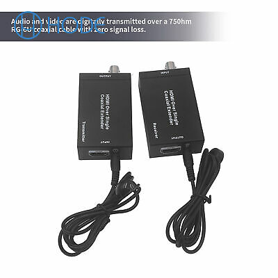 £57.91 • Buy HDMI Over Single Coax Extender RG-6U 1080P Coax Cable Transmitter  Receiver UK