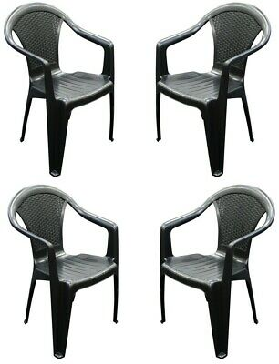 £59.99 • Buy Set X 4 Rattan Plastic Strong Black Stackable Outdoor Patio Garden Chairs & Arms