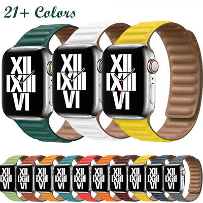 AU16.23 • Buy Magnetic Leather Link Loop Wrist Band Strap For Apple Watch Series SE 6 5 4 3 2