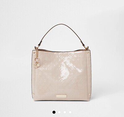 £38.99 • Buy River Island Patent Cream Tan Embossed Slouch Tote Shopper Shoulder Hand Bag