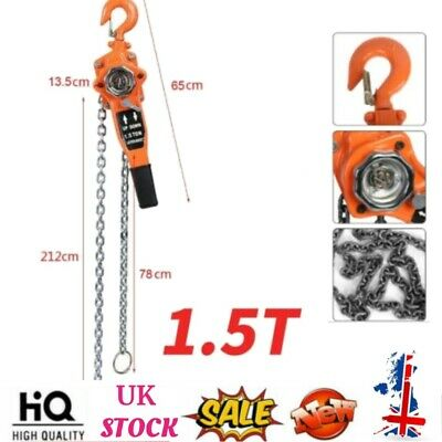 £60.36 • Buy 1.5T Chain Puller Block And Tackle Fall Hook Chain Lift Hoist Hand Tools 3 Meter