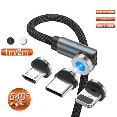 360° Magnetic Type C Lead Micro USB Fast Charge Charger Cable For IPhone Android • 4.47£