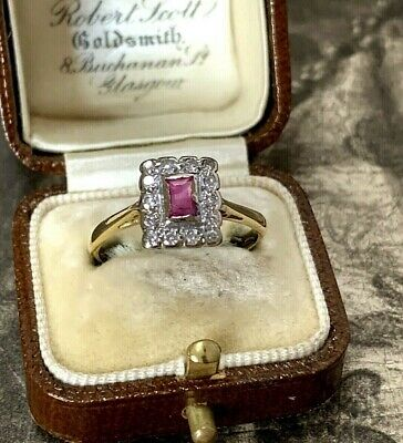 Art Deco Old Cut Diamond Emerald Cut Ruby Cluster Ring Circa 1920's UK M 1/2 • 545£