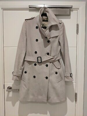 Women's Burberry London Wool/Cashmere Blend Belted Trench Coat UK 10 In Cream • 270£