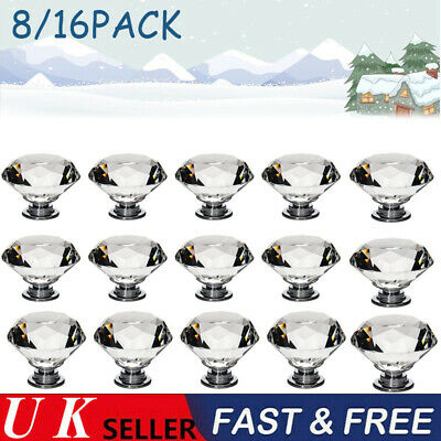 16Pcs Clear Crystal Diamond Glass Door Knobs Cupboard Drawer Handle Cabinet Knob • 11.49£