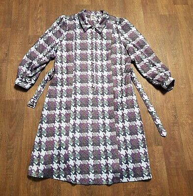 AU62.39 • Buy 1970s Vintage Purple Checked Day Dress UK Size 20 Vintage Clothing