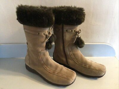 Womens Winter Warm ,real Suede, Faux Fur Lined Mid Calf Boots Size 40 • 14£