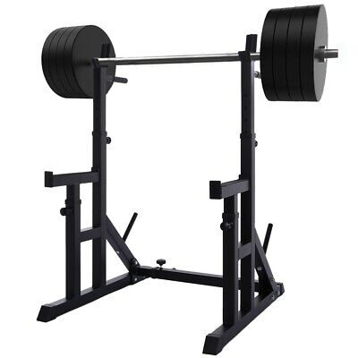 $ CDN241.04 • Buy Adjustable Squat Rack Stands Barbell Bench Press Dipping Station Home Fitness US