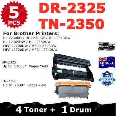 AU58 • Buy Combo Compatible Toner 4x TN-2350 + 1x Drum DR-2325 For Brother HLL2300D L2305W