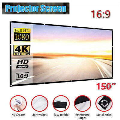 AU25.89 • Buy 150  Foldable Projector Screen Portable Outdoor Home 3D Movie Cinema 16:9
