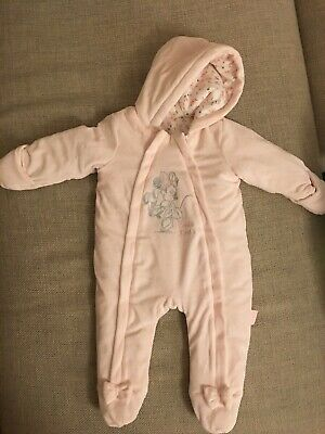 £11 • Buy Official Disney Minnie Mouse Pink Snowsuit Age 3-6 Months Winter One Piece
