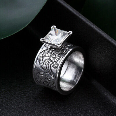 AU2.62 • Buy Vintage Silver Cut White Sapphire Diamond Ring For Women Wedding Party Jewelry